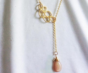 Matte Gold/Smooth Peach Lariat Necklace