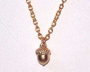 Matte Gold Tiny Acorn Pendant Necklace