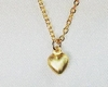 Matte Gold Vermeil Dainty Puff Heart Pendant Necklace