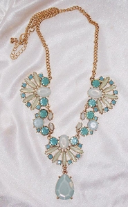 New Frosted Insets Statement Necklace