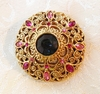 Round Goldtone Filigree Pin w/Pink RS