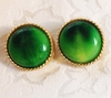 Round Green Glass Earrings/Goldtone Frames