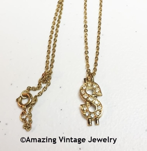 Sarah Coventry Dollar Sign Necklace