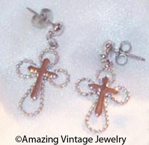 SERENITY CROSS Earrings - Silvertone