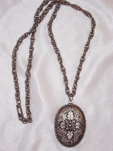Silver Filigree Locket-Look Necklace
