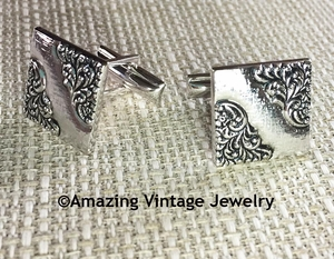 Sarah Coventry Silver Floral Cuff Links