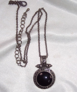 Silvertone Antique Look Black Pendant Necklace with Marcasites