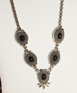 Silvertone/Black Runway Necklace - EMMONS