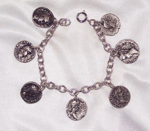 Silvertone Bracelet with Antique Coin-look Charms