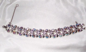 Silvertone LInk Bracelet with AB Stones