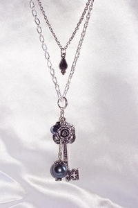 Silvertone Multi Charm Two Strand Necklace - Key