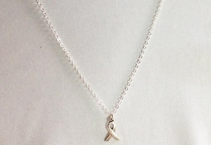Sterling Silver Breast Cancer Awareness Ribbon Necklace