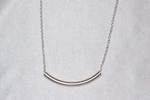 Sterling Silver Curved Tube Necklace