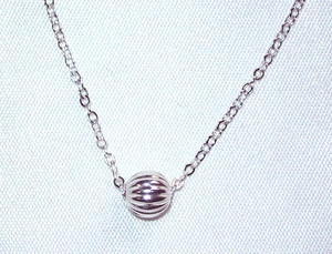 Sterling Silver Ribbed Ball Necklace