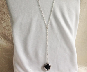 Sterling Silver Y Necklace w/Black Glass Pendant