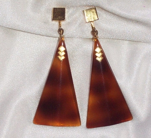 Tortoise Triangle Earrings