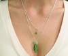 Trendy LAYERED Necklace - Green GLASS Art Beads