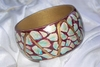 Turquoise, Brown and Cream MOSAIC Handpainted Bracelet