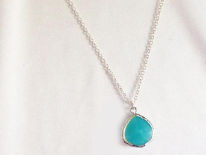 Turquoise Glass Silver Framed Pendant Necklace