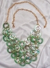 Vintage Green Mother-of-Pearl look Circles Necklace