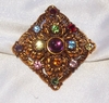 West Germany Goldtone Pin w/Multi-Colored Rhinestones