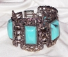 Wide Antique Silvertone Bracelet w/Turquoise-Look Insets