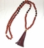 Wooden Beads Necklace with Leather Tassel