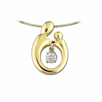 14K Two-Tone Large Mother and Child&reg Diamond Pendant