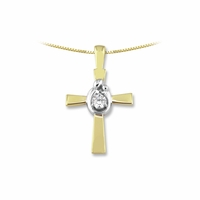 14K Two-Tone Mother and Child&reg  Diamond Cross Pendant