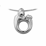 14K White Gold Mother and Child&reg Family Twin Pendant