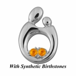 14K White Gold Queen Mother and Child&reg Pendant for Twins with Synthetic Birthstones