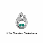 14K White Gold Small Mother and Child&reg Pendant for Twins with Genuine Birthstones