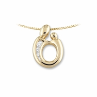 14K Yellow Gold 3 Diamond Mother and Child&reg Pendant