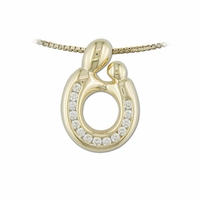 14K Yellow Gold Channel Set  Diamond Mother and Child&reg Pendant
