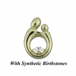 14K Yellow Gold Gold Large Mother and Child&reg Pendant for Twins with Synthetic Birthstones