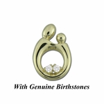 14K Yellow Gold Large Mother and Child&reg Pendant for Twins with Genuine Birthstones
