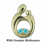 14K Yellow Gold Queen Mother and Child&reg Pendant for Twins with Genuine Birthstones