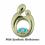 14K Yellow Gold Queen Mother and Child&reg Pendant for Twins with Synthetic Birthstones