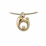 14K Yellow Gold Small Mother and Child&reg Family Diamond Pendant
