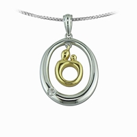 Sterling Silver Diamond Oval with 14K Mother and Child&reg Charm