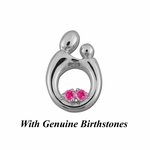 Sterling Silver Large Mother and Child&reg Pendant for Twins with Genuine Birthstones