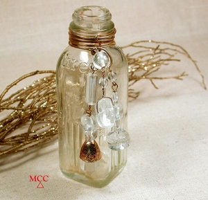 ANTIQUE BUD BOTTLE - Hires Bottle, Rare Diamond Window Rock Crystal, Cut and Facetted Rock Crystal Beading, Baroque Clear Glass Beads One of Kind