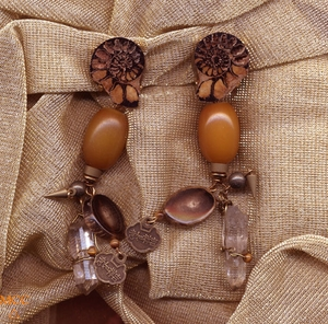 BIMINI CLIPS - Earrings of Matched, Wirewrapped Natural Arkansas Rock Crystals, Ammonites, Copal, Tiger's Eye, Horn, Pyrite