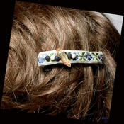 BLUE BACHELORS BUTTONS - French Clip Ribbon Barrette with Wirewrapped Arkansas Golden Healer Crystal and Blue Jade