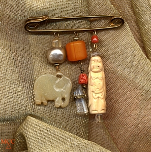 CHARMED LIFE with Elephant - Pin of Arkansas Rock Crystal, Carved Bone, Citrine, Pre-Embargo Coral, Jade, Copal
