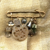 CHARMED LIFE with FROG - Pin- Arkansas Green Chlorite Point, Fancy Jasper, Moss Agate, Antique Soochow Jade