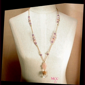 CHOU TWIST - Necklace of Gem Grade Natural Arkansas Quartz Crystal, Carved Rose Quartz, Cape Amethyst, and Peridot