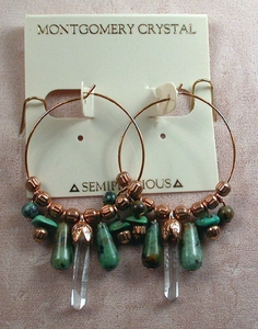 CONVERTIBLE HOOPS - Earrings of Matched Natural Arkansas Rock Crystals, African and Chinese Turquoise, RGP