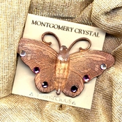 COPPERCOLORFLY Brooch - With Arkansas Laser Crystal and Austrian Rhinestones