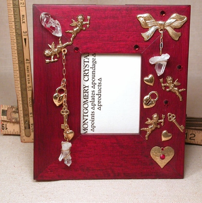 CUPID - Handmade Red Frame with Custom Wrapped Gem Arkansas Rock Crystals, Cupid and Heart, Bow Golden Charms, Swarovski Red Glass